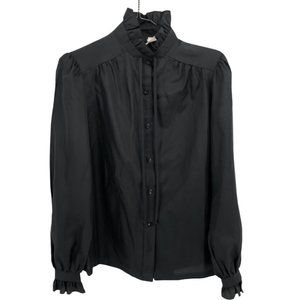 70s 80s JC Penny Ruffle Blouse Black 10 Polyester